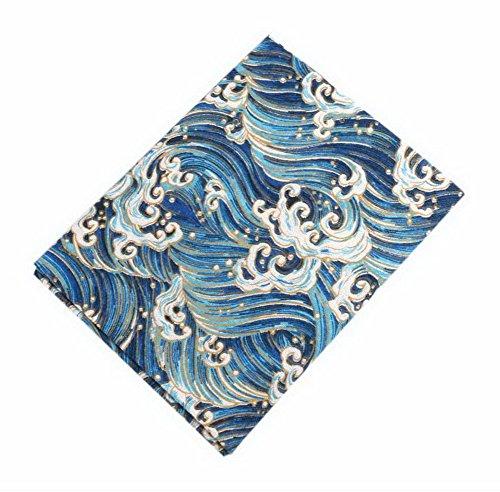Koala Superstore 2 Stück Leinen Bedruckt Stoff für Tisch, Vorhang, Sofa, Kleidung, Blaue Wellenmuster