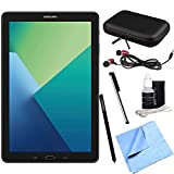 Samsung Galaxy Tab A 10.1 Tablet PC Black with S Pen Bundle with in-Ear Headphone, Microfiber Cloth, Cleaning Kit, Stylus Pen with Clip, Hard EVA Case with Zipper for Tablets