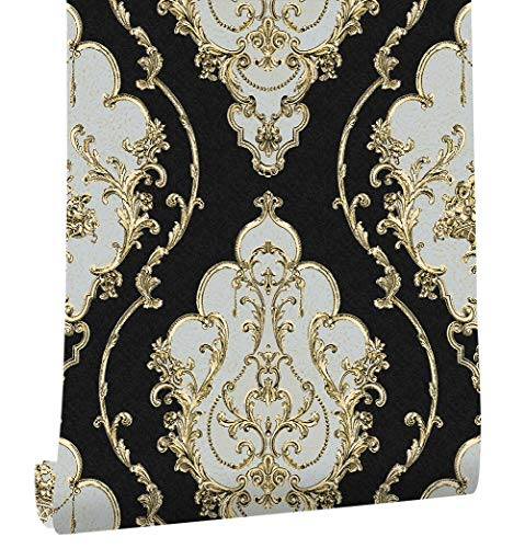 XY399 degrees Modern Heavy Texture Victorian Damask Wallpaper Black/gold/brown/silver 3d Living Room Bedroom Home Art Decor-in Wallpapers From Home Improvement Black 0.53m*10m
