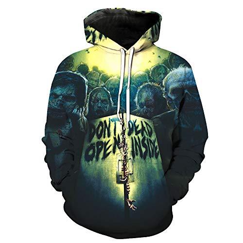 ZXTXGG heren 3D hoodies sluit de poorten van het houten raam patroon digitale print capuchontrui liefhebbers capuchontrui
