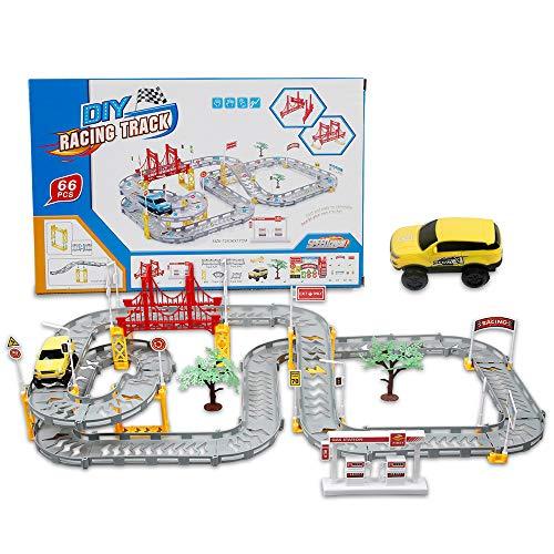 infinitoo Autorennbahn für Kinder ab 3 Jahre, Auto Spielzeug Rennbahn, 66 Stück Autobahn Set Mit EIN Gelber Rennwagen, Kinder Spielzeug Geschenke