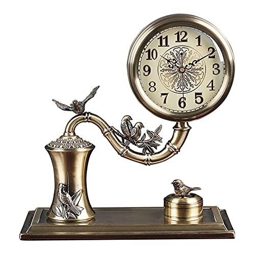 hkwshop Reloj de Escritorio Reloj DE Tabla Moderna Light Lujo DE Lujo Metal DE Metal RELOJA DE LA CASA HOGAR AGRADORES Americanos DE AGUMENTOS DE Reloj DE LA Decoración de 14 Pulgadas Reloj de Mesa