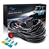 MICTUNING HD 14AWG 300w LED Light Bar Wiring Harness Fuse 40Amp Relay ON-OFF Waterproof Switch(1Lead)