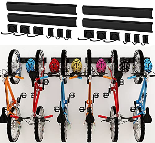 Dirza Bike Storage Rack Wall Mount Garage Bike Hanger for 6 Bicycles Adjustable Bike Hooks for Home indoor Holds Up to 500lbs(6 bike hooks + 6 bike accessory hooks)