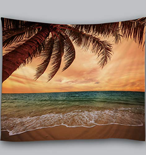 Amiiba Dusk Ocean Wall Tapestry Tropic Paradise Beach Tapestry Wall Hanging Palm Tree Home Decoration for Bedroom Living Room (Beach, L - 79'x59')