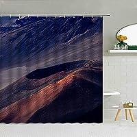 自然の風景シャワーカーテン滝ピークリバー灯台森の風景バスルームの装飾防水カーテン,180X200Cm