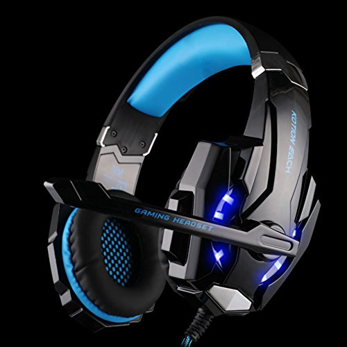 Kotion Each G9000 Gaming Headset Headphone 3.5mm Stereo Jack with Mic LED Light for PC/PS4/Tablet/Laptop/Cell Phone (Black Blue)