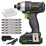 GALAX PRO 20V Lithium Ion 1/4' Hex Cordless Impact Driver with LED Work Light, 6pcs Screwdriver Bits, Variable Speed (0-2800RPM)- 1.3Ah Battery and Charger Included