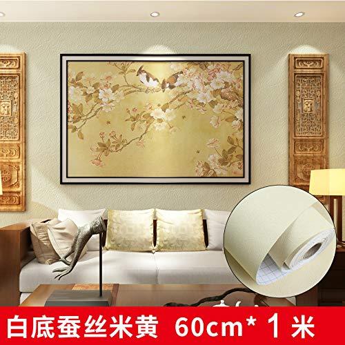 behang zelfklevende imitatie doek effen kleur slaapkamer woonkamer muur stickers behang goud staven wit grijs (60CM) Thickened silk beige 60cm*1m 18