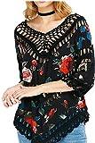 L-Peach Floral Crochet Túnica Vestido Estampado de Playa Cover Up Pareo Top para Mujer
