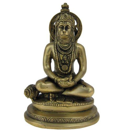 Shalinindia Dieu Hindou Hanuman Laiton Sculpture en Position Assise