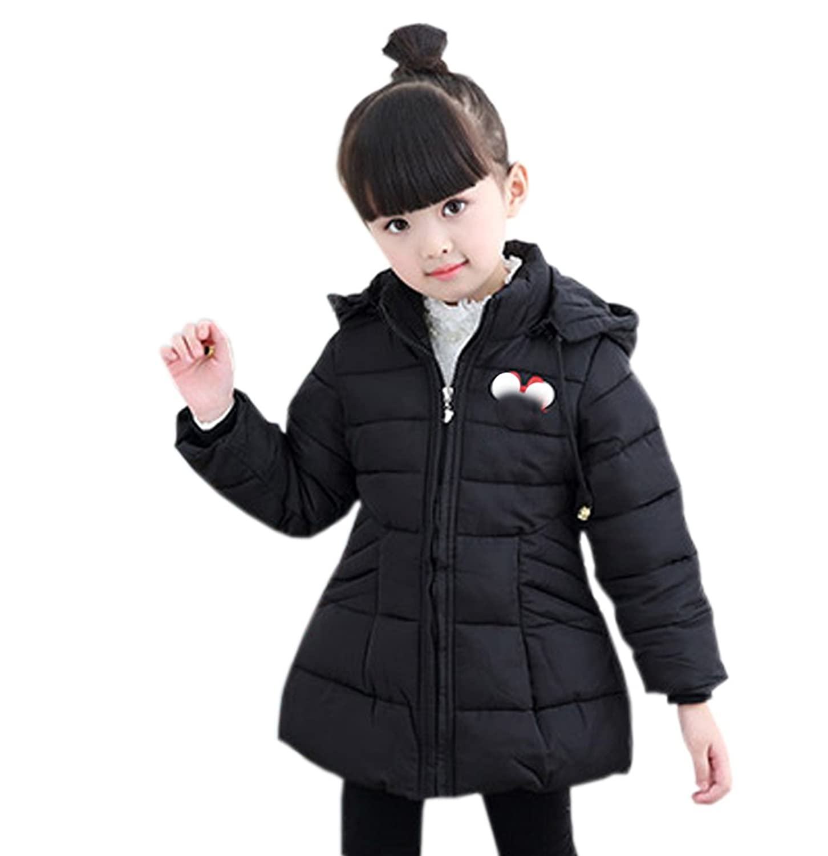 fulaixi冬綿衣 肥厚 可愛い 保温 アウター長袖コート子供向きコート (100, ブラック)
