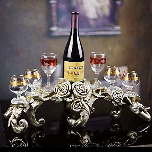CAIJINJIN estante del vino Adornos de decoración del hogar vino rosado bastidor soporta seis copas de vino regalos creativos al por mayor de (60 * 23 * 20 cm) decoraciones caseras Almacenamiento