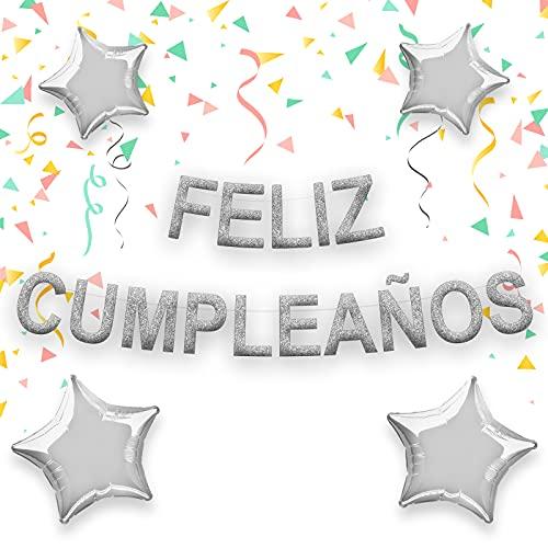 Decoracion globos de cumpleaños con 19 piezas y hasta 5m. Pancarta de Feliz cumpleaños decoracion para fiesta de aniversario de adultos y niños en español y con forma de estrella. (Plata)