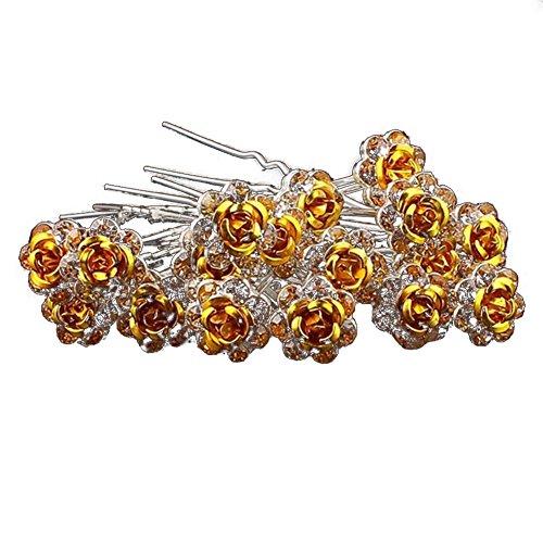 Outflower. 20Pcs Femmes Bridal Clear Crystal Rhinestone Rose Flower Clips de Cheveux Accessoires pour Cheveux Jewelry Hairpins (Jaune)