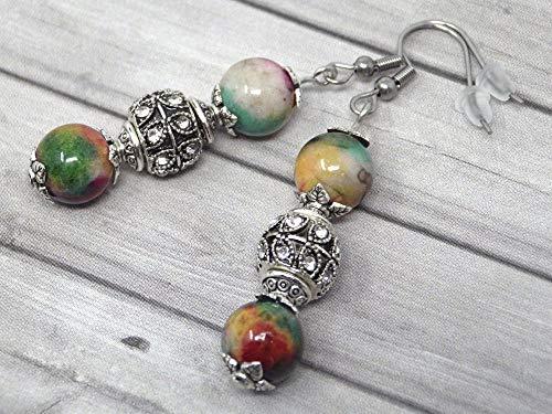 Pendientes de acero inoxidable con cuentas de jade rojo natural verde y blanco, y perlas con cristales