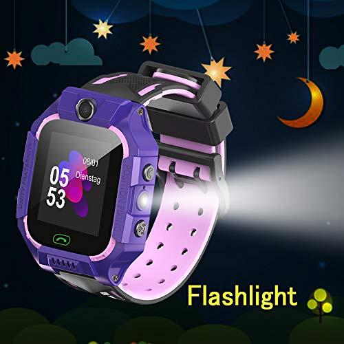 Openuye LBS-Kinder SmartWatch Telefon Uhr, Kamera+SOS Notruf+Telefonfunktion+LBS Positionierung+Taschenlampe, für Mädchen Jungen Geburtstag, Support auf deutsch (Lila)