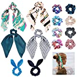 14Pcs Hair Scrunchies, 4Pcs Velvet Elastics Hair Bands, 4Pcs Satin Scarf Hair Scrunchies, 4Pcs Shiny Scrunchy Metallic Hair Tie, 2Pcs Ribbon Bow Scrunchies, Good Idea for Any Occasions for Girls Women