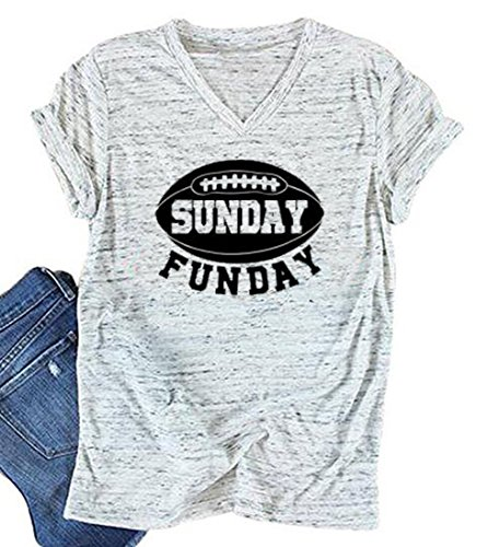 YUYUEYUE Sunday Funday Letters Print T Shirt Women Football Sport Casual Short Sleeve Top (Small,White)