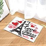 ZZ7379SL Día de San Valentín Alfombras de baño Acuarela Torre Eiffel...
