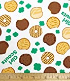 1 Yard - Girl Scout Cookies Tossed on White Cotton Fabric (Great for Quilting, Sewing, Craft Projects, Throw Pillows & More) 1 Yard x 44'