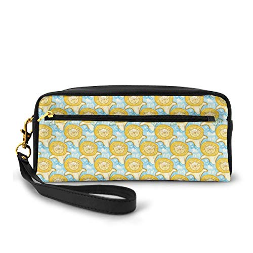 Pencil Case Pen Bag Pouch Stationary,Summer Season Illustration with Baby Lion Cubs Swimming in A Wavy Sea Animal Fun,Small Makeup Bag Coin Purse
