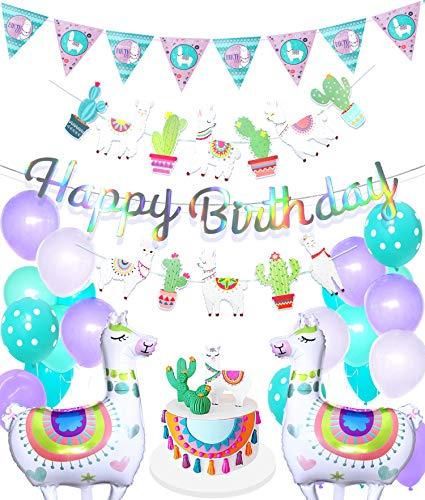 Regendeko Happy Birthday Alpaka Set Geburstagsdeko Kinder Geburstags Girlande Party Deko(Alpaka Party)
