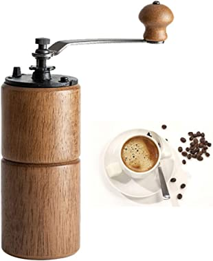 Manual Coffee Grinder Wooden Mill with Cast Iron Burr Coffee Grinder Adjustable Large Capacity Hand Crank for Home, Office an