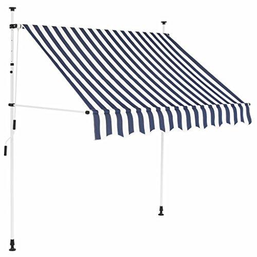UnfadeMemory Einziehbare Markise Sonnenmarkise Balkonmarkise Handbetrieben Sonnenschutz Markisen | Textilgewebe mit PU-Beschichtung + Stahlrahmen | 150/200/250/300/350/ 400cm (150 cm, Blau/Weiß)