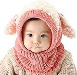 UMIPUBO Bambini Scialle Cappello Autunno Berretti Inverno Maglia Sciarpa Cappelli Protezione del Bambino Orecchie Carine Cappello (Rosa)