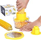 Corn Peeler, PASYOU 4 in 1 Multifunction Corn Shucker Stripping Tool Stripper Holder Cutter, with Measuring Cup Grater Zester, Corn Kernel Remover Ginger Graters Thresher