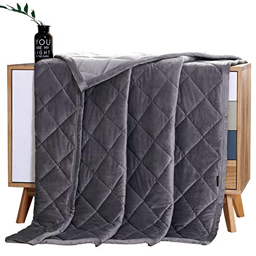"""MANLINAR Soft Plush Weighted Blanket, Adult 15lbs Minky Weighted Blankets, Diamond Quilted Fleece Weighted Throw, Fuzzy Heavy Blanket (48""""x72"""") for Twin/Full Size Bed and Couch, Machine Washable,Grey"""