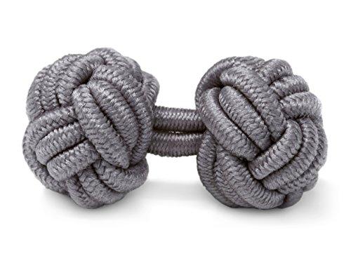 THE SUITS CREW Manschettenknöpfe Seidenknoten Herren Damen Nylon Stoff   Cufflinks Silk Knots für alle Umschlagmanschetten Hemden   Einfarbig (Grau)