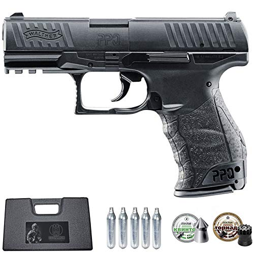 Ecommur. Walther PPQ | Pistola de Aire comprimido y perdigones semiautomática 4,5mm + maletín + 2 Cajas de balines y CO2