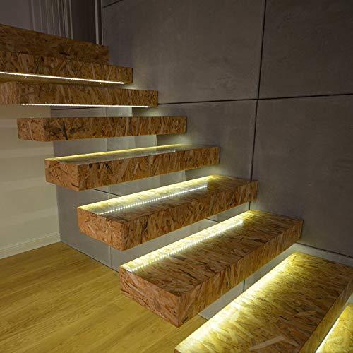 LED Treppenlichter Intelligent, Holeider Nachtlicht Wandleuchte Bewegungsmelder Batterie Bewegungssensor Treppenlicht 100CM (Gelb)