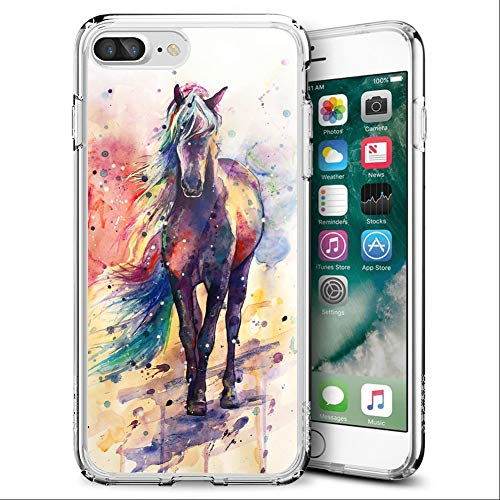iPhone 7 Plus 8 Plus Clear Case Custom Pattern TPU Cover Case Slim Flexible Full Body Protective Cover Case for iPhone 7 Plus 8 Plus (Watercolor Horse)