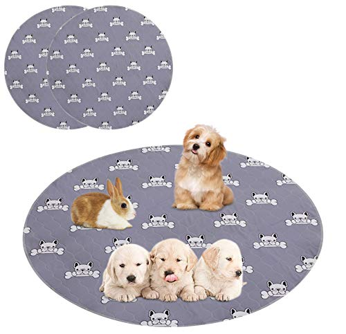 Geyecete Washable Reusable Puppy Pads Small Dog Training Pads,Super Absorbency Puppy Rabbit Wee Whelping Pad Highly Absorbent with Waterproof Bottom,2Pack Gray-Round