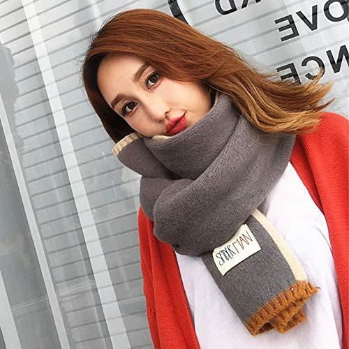 Waniii Herbst Und Winter Warme Wilde Doppelseitige Dicken Schal Paar Damen Wolle Strickschal Studenten