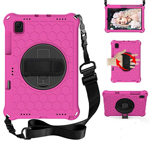 BAUBEY Kids Galaxy Tab A7 Case 10.4 Inch (SM-T500 / T505 / T507),Drop & Shockproof Hybrid Case with 360 Rotating Stand Hand Strap Shoulder Strap Tablet Cover (RoseRed+Black)