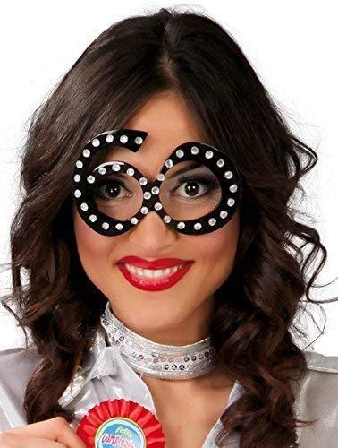 Fancy Me Femmes Noir Diamant Milestone Grand Anniversaire Costume déguisement Lunettes - 60ème