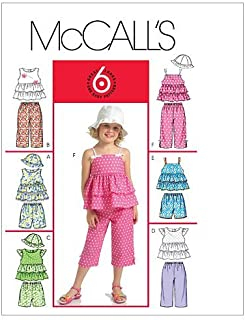 McCalls Sewing Patterns 5306 Girls Childs Tops Shorts Capri Pants Hats Size 4-6