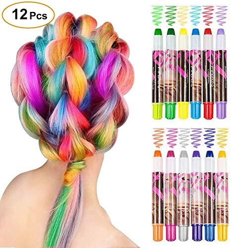 WloveTravel Haarkreide Geschenke für Mädchen Kinder, 12 Farben Temporäre Haarkreide Stifte Set für DIY Haarfarbe Stifte