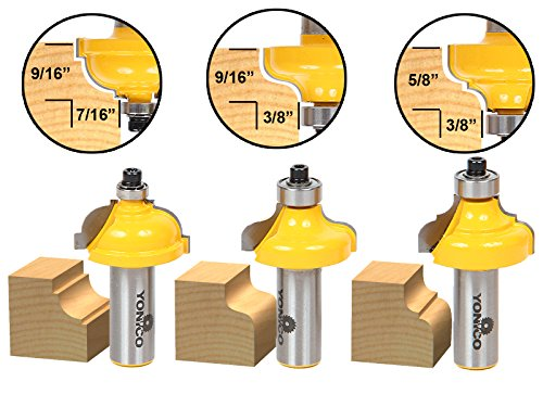 Yonico 13327 3/8-Inch 3 Bit Edge Forming Router Bit Set 1/2-Inch Shank