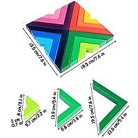Lewo di Legno Arcobaleno Gioco impilabile Geometria Costruzioni Creativo annidamento Giocattoli educativi Bambini Piccoli #5