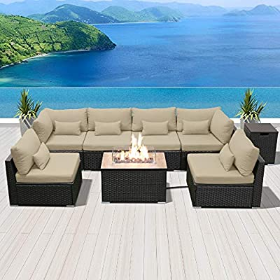 DINELI Patio Furniture Sectional Sofa with Gas Fire Pit Table Outdoor Patio Furniture Sets Propane Fire Pit (Light Beige-Rectangular firepit)