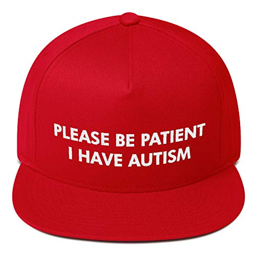 Please Be Patient I Have Autism Hat (Flat Bill) - Red