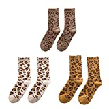 VALICLUD Socken mit Leopardenmuster Socken mit Tiermustermuster Herbst Winter Wolle Fuzzy Crew Socken 3 Stück