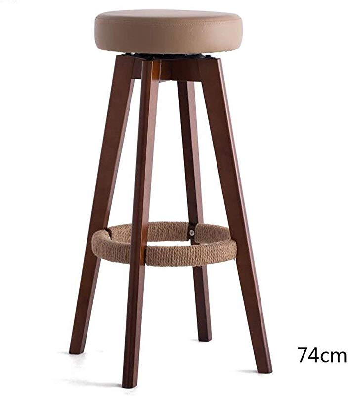 Carl Artbay Wooden Footstool Brown Cushion Brown Wooden Frame High 74cm Bar Chair High Stool Modern Simplicity Rotating Chair Home