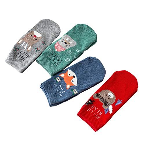 Hibote hibote New Kids Snowflake Deer Gedruckt Baumwolle Casual Socken Jungen Mädchen Weihnachtsgeschenk Box Socken