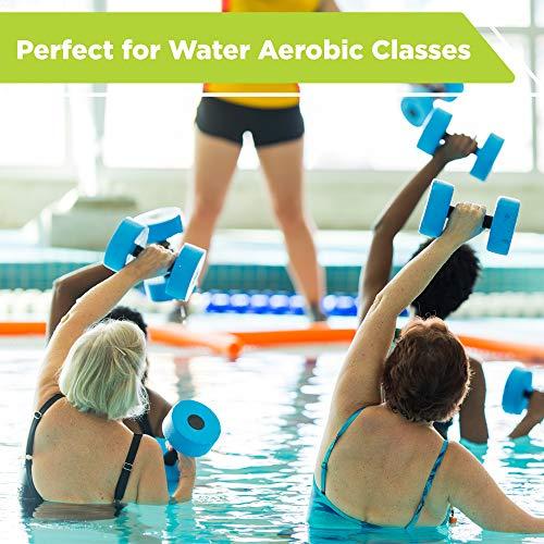 New & Improved AQUA 6 Piece Fitness Set for Water Aerobics, Pool Exercise Equipment, Aquatic Swim Belt, Resistance Gloves, Barbells, Model:AF4730 5